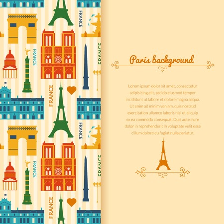Landmarks of France, vector colorful background with vertical space for text and flat geometric objects Vector