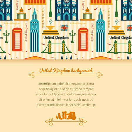 Landmarks of United Kingdom, vector colorful background with horizontal space for text and flat geometric objects Vector