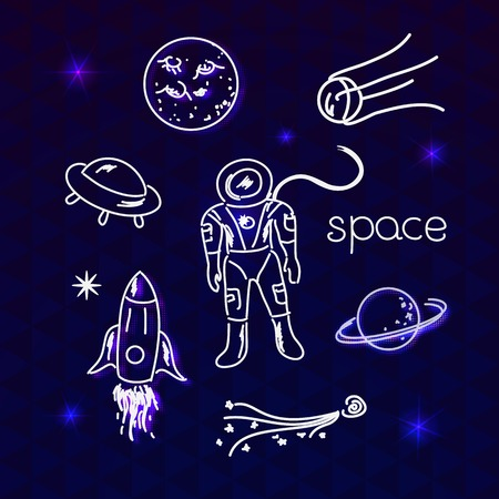 echnology: Space vector white objects line drawing in night sky
