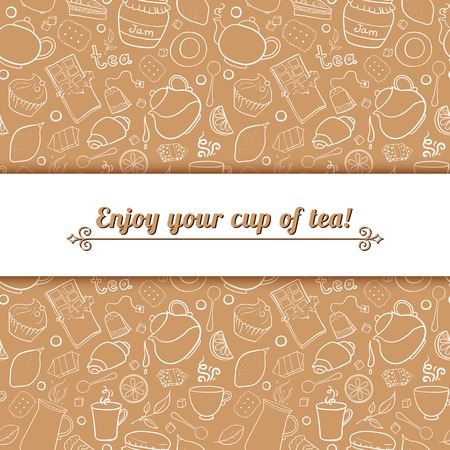 centered: Tea and sweets vector background in doodle style with place for text, template for use as packaging, fabric
