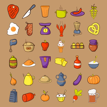 cereal bar: Food icons set, colorfool doodle cooking illustrations