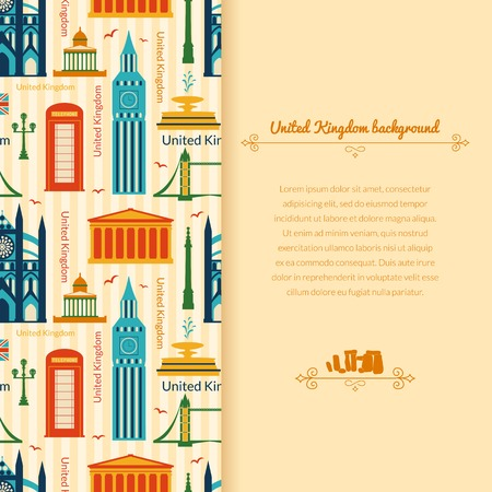Landmarks of United Kingdom, vector colorful background with vertical space for text and flat geometric objects Vector