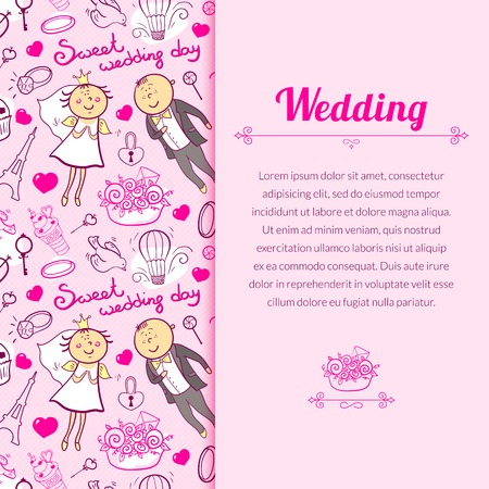 Vector romantic wedding illustration in cartoon style with cute characters and vertically space for text Vector