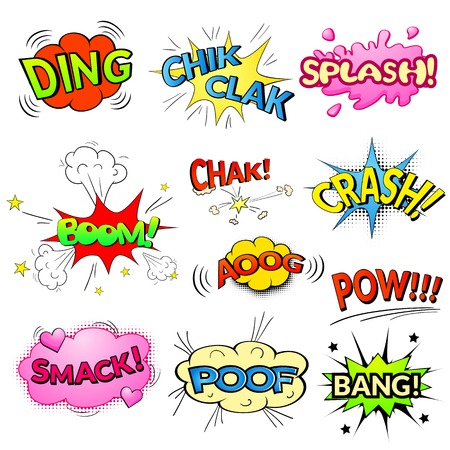 Comic bubbles vector isolated set, sound effects to comics Vettoriali
