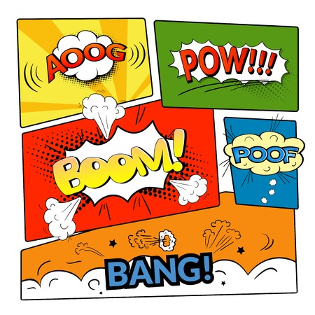 Comic bubbles vector isolated set, sound effects to comics, templates clouds on strip background Vector
