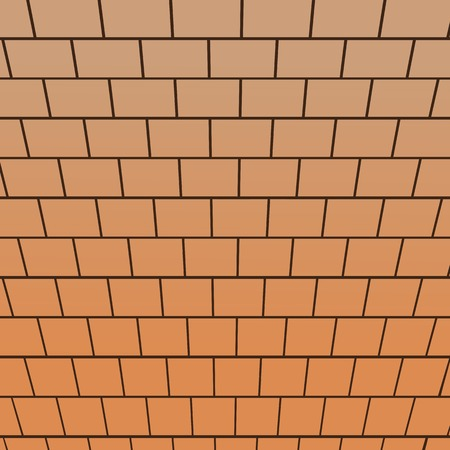 Brick wall, top-down view perspective vector background Vector