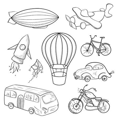 Sketches medios de transporte, ilustración vectorial blanco y negro