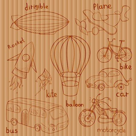 Sketches means of transport, vector illustrations on background of old board in vintage style
