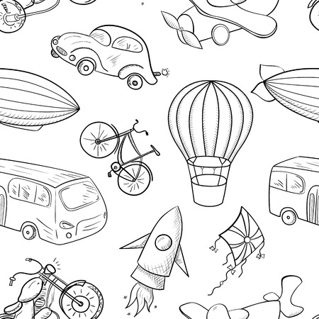 Sketches means of transport, black and white vector seamless pattern on white background
