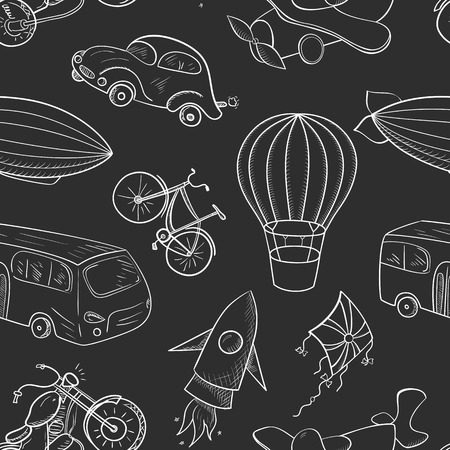 Sketches means of transport, black and white vector seamless pattern on black background