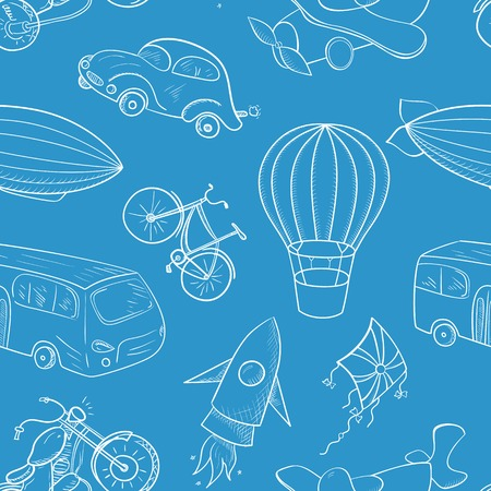 Sketches means of transport, vector seamless pattern on blue background