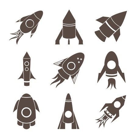Vector silhouette rockets icons set on white background