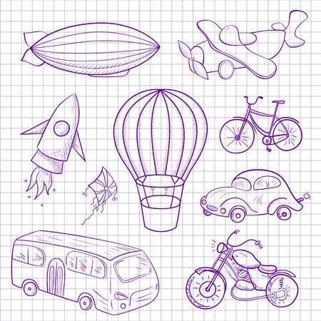 Sketches medios de transporte dibujado en la hoja del cuaderno, ilustración vectorial