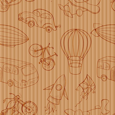 Sketches means of transport, vintage vector seamless pattern on old cardboard background Vectores