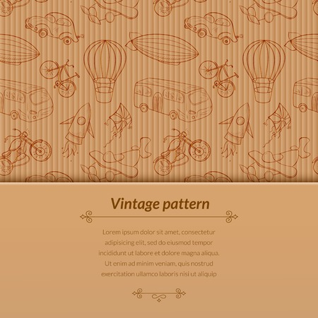 Sketches means of transport, vintage vector illustration with horizontal space for text on old cardboard background