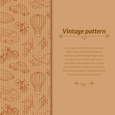 Sketches means of transport, vintage vector illustration with vertical space for text on old cardboard background Vectores