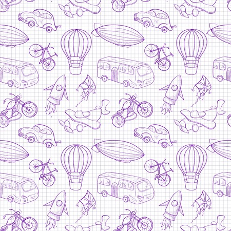 Sketches means of transport,  vector seamless pattern on notebook sheet background