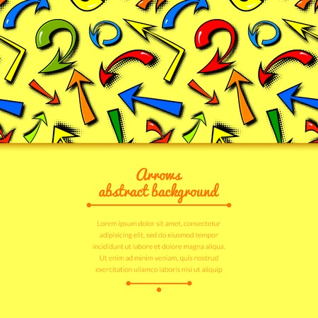 Vector background of hand drawn colorful comics arrows in cartoon style with horizontally space for text Vector