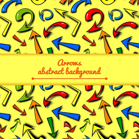 Vector background of hand drawn colorful comics arrows in cartoon style with central space for text Vector