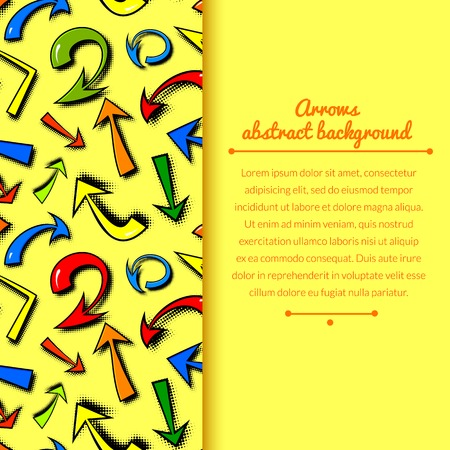Vector background of hand drawn colorful comics arrows in cartoon style with vertically space for text Vector