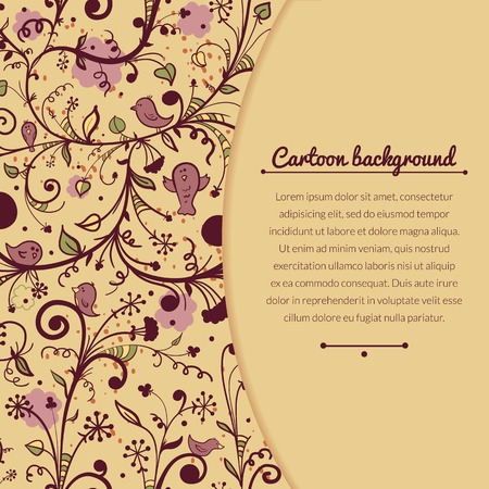 Floral vintage vector illustration with flowers, birds and space for text Vector