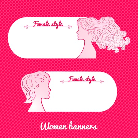 Two beautiful female romantic vector banner in minimalist style Vector