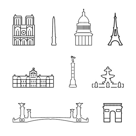 obelisk: Vector outline icons of France isolated background Illustration