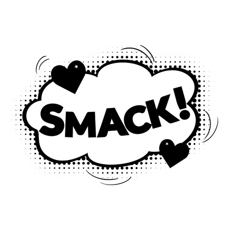 smack: Comic bubbles vector isolated black and white illustration, kissing sound