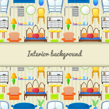 Vector background  furniture in realistic style with central space for text Vector
