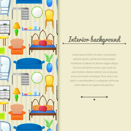 Vector background  furniture in realistic style with vertically space for text Vector
