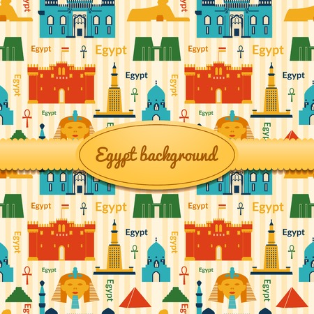 Landmarks of Egypt vector background in flat style with ribbon and label Vector
