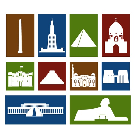 citadel: Landmarks of Egypt vector colorful simple flat  rectangular icons set