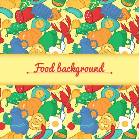 Bright kitchen vector illustration in cartoon style with central space for text Vector