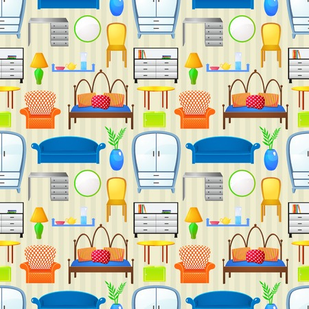 Vector seamless pattern with elements furniture in realistic style Vector