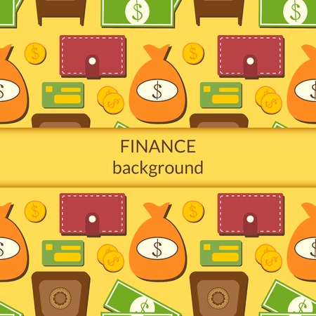 Finance business economics background with objects in flat style and central space for text Vector