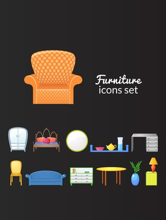 Set vector icons furniture  in realistic style isolated from dark background Vector