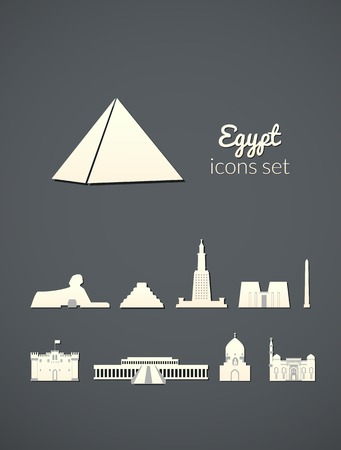 Landmarks of Egypt, vector simple white icons on gray elegant background Vector
