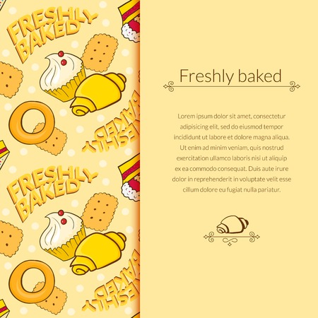 Bakery vector beautiful holiday background in cartoon style with vertically space for text Vector