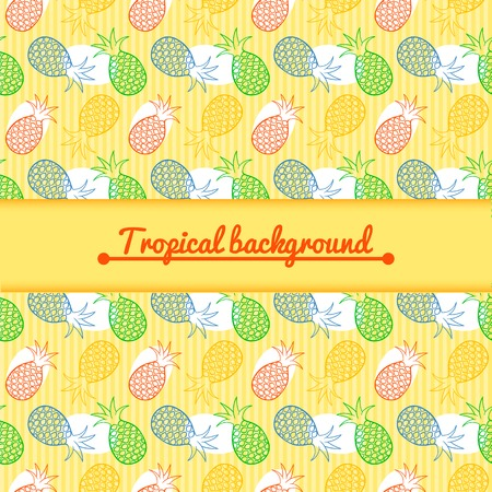 Pineapple juce vector colorful background with central space for text Vector