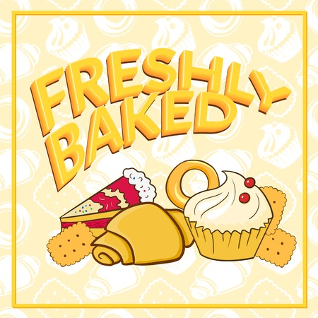 Fresh baked vector illustration beautiful signboard on bakery, shop, cafe Vector