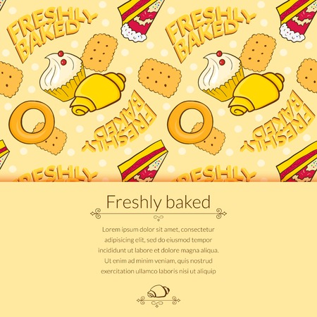 Bakery vector beautiful holiday background in cartoon style with horizontally space for text Vector