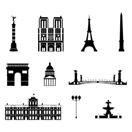 Bezienswaardigheden van Parijs, vector eenvoudige zwart-wit pictogrammen