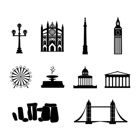 Landmarks of United Kingdom,vector simple black and white icons Vector
