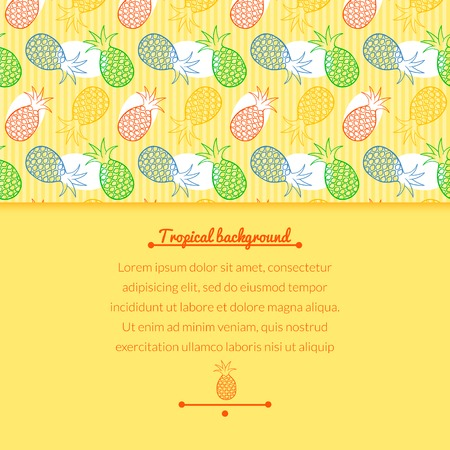 horizontally: Pineapple juce vector colorful background with horizontally space for text Illustration