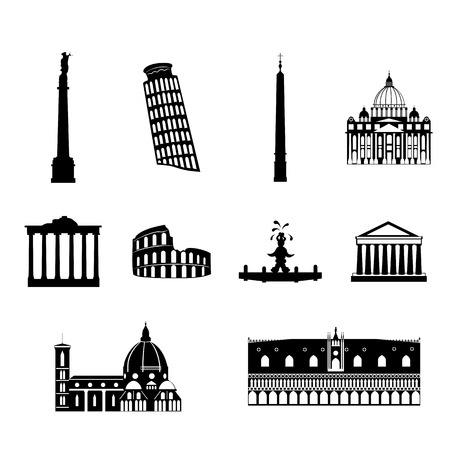 Landmarks of Italy, vector simple black and white icons