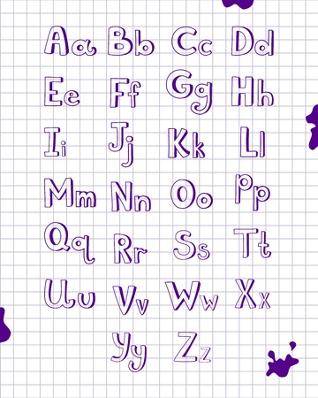 blue pen: Hand drawn type font, vector alphabet drawn on notebook sheet with blue pen in cartoon style Illustration