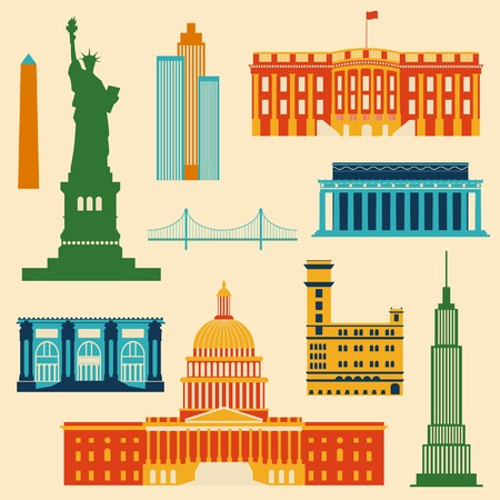north gate: Landmarks of United States of America, vector colorful flat icons set
