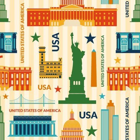 paper sculpture: Landmarks of United States of America vector colorful seamless pattern Illustration