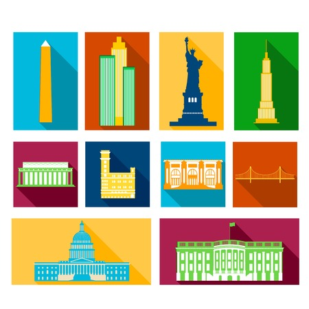 Landmarks of United States of America, vector colorful flat icons with long drop shadows set Vector