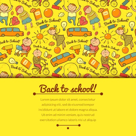 horizontally: Vector cheerful background with children, back to school, with horizontally space for text